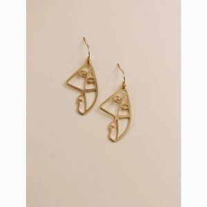 Picasso Face Figure Charm Statement Drop Earrings